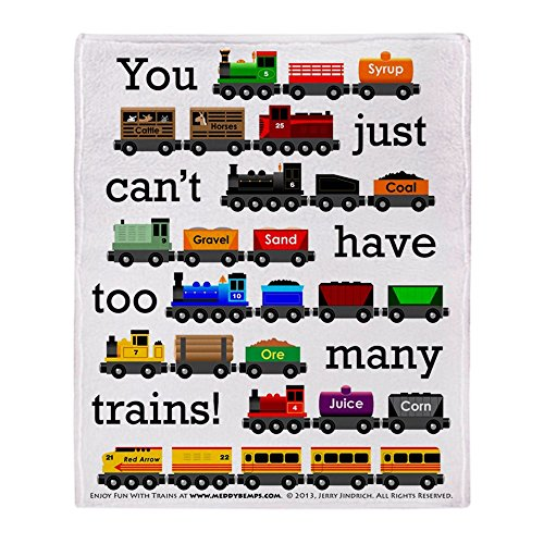(CafePress Too Many Trains Soft Fleece Throw Blanket, 50