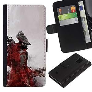 KLONGSHOP // Tirón de la caja Cartera de cuero con ranuras para tarjetas - Futuro pirata - Samsung Galaxy S5 Mini, SM-G800 //