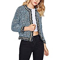 Pearl Beading Blazer Office Ladies Jacket Frayed Tweed Windbreaker Autumn NEW Open Front Collarless Fitted Elegant Blazer