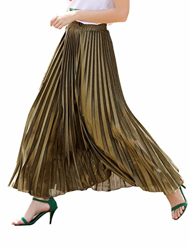 Women's Luster Elegant Pleated A Line Long Maxi Elastic Waist Retro Skirt(C001Gold-XL)