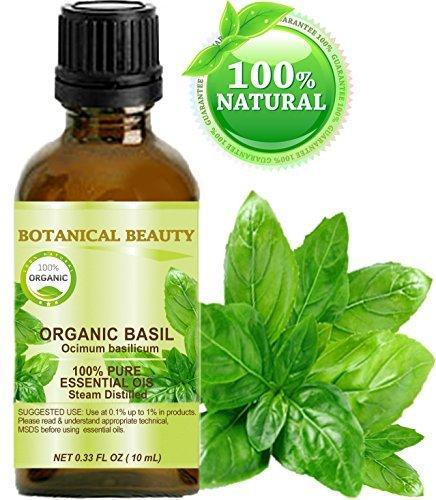BASIL ESSENTIAL OIL ORGANIC. 100% Pure Therapeutic Grade, Premium Quality, Undiluted. 0.33 Fl.oz.- 10 ml.