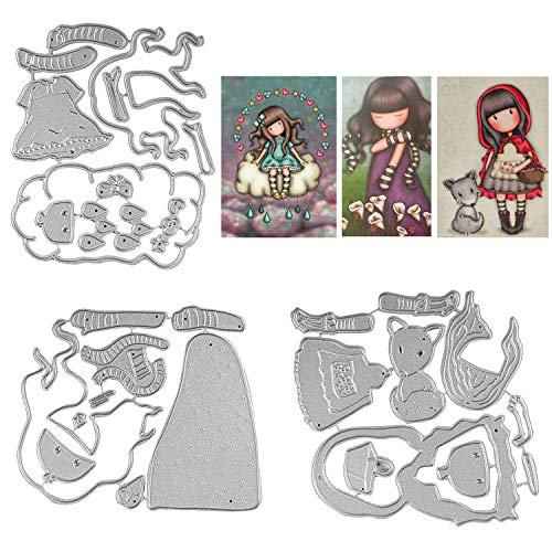 3 Pack Lovely Baby Girl Metallic Cutting Dies Embossing Die Cuts Stencil Template for Scrapbooking Album Paper Card Making Clearance DIY Crafts Decoration