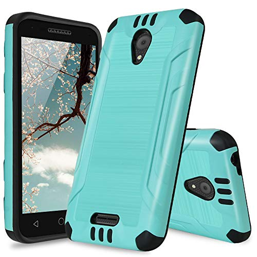 Alcatel Verso Case, Alcatel idealXCITE Case, Alcatel CameoX Case, Alcatel Raven LT Case, TJS Dual Layer Hybrid Shockproof Resist Phone Case Cover Metallic Brush Finish with Hard Inner Layer (Teal)