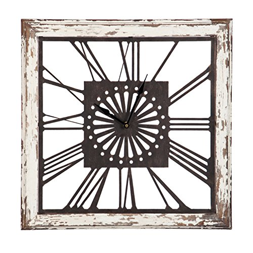 Cape Craftsmen Distressed White Square Clock | Home Wall Art Decor