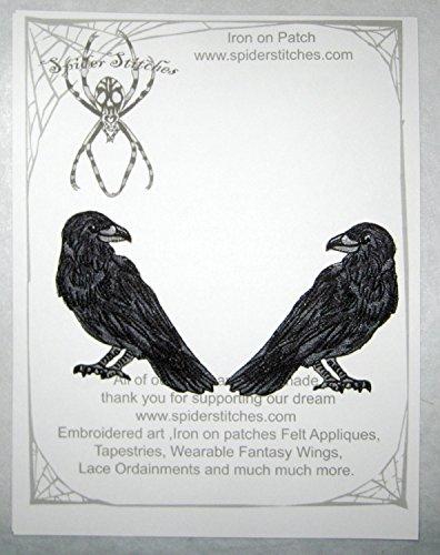Raven Crow Pair Black Bird Iron on -
