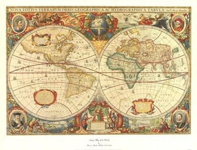 - Henricus Hondius - Antique Map Of The World Canvas