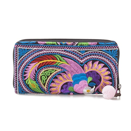 Wallet Embroidered (Changnoi Unique Handmade Women's Wallet Thai Hmong Embroidered Fabric (Bird Multi))