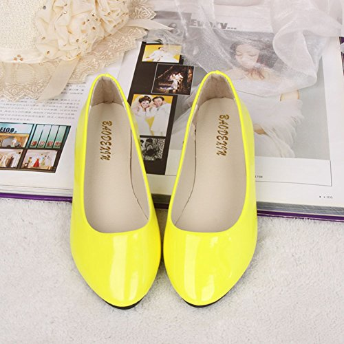 MISSMAO Womens Shoes Classic Slip On Comfy Ballet Flats for Girls Ladies Yellow f2gyzN7Rs
