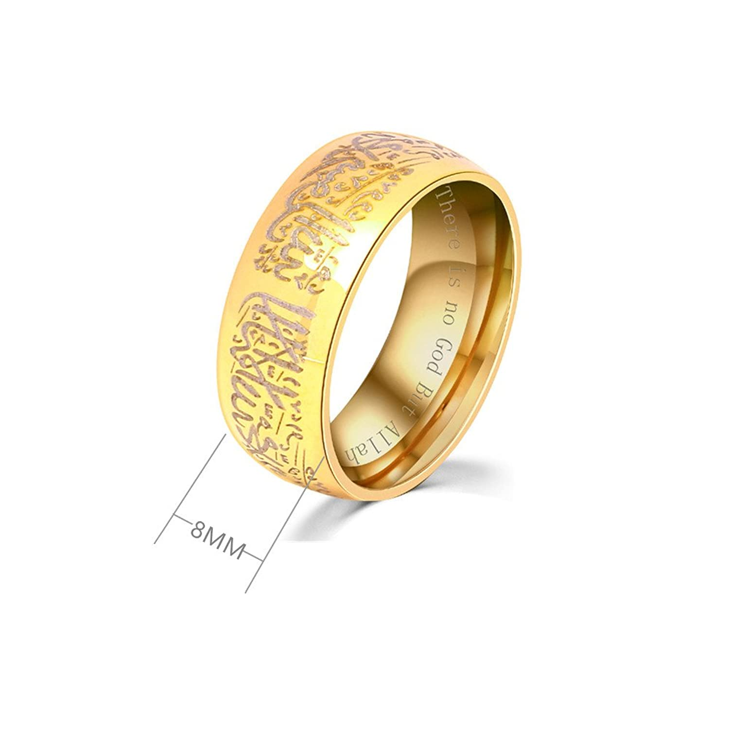 Amazon 8MM Black & Gold Plated Muslim Jewelery Band with