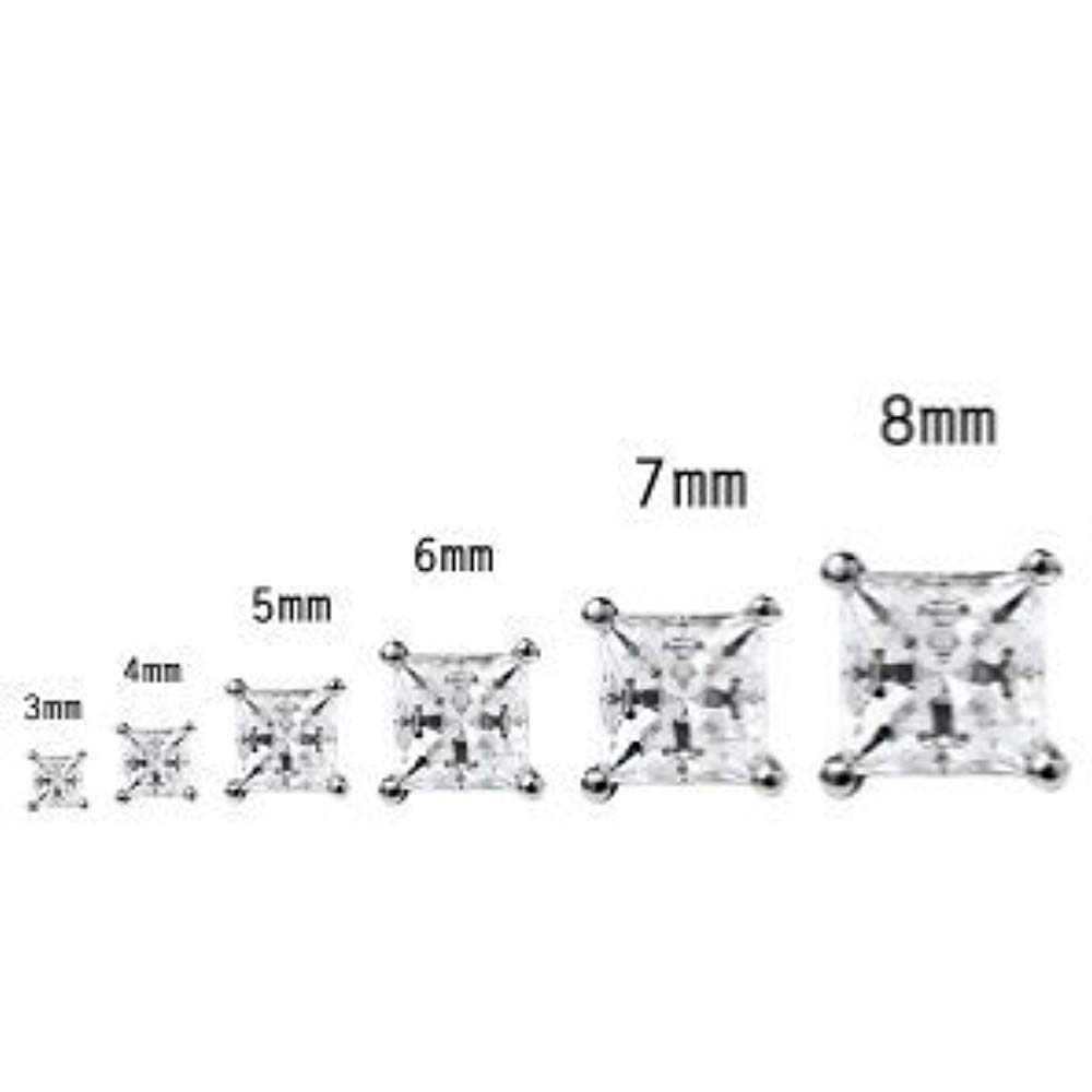 Trendzjewels Created Princess White Diamond Wedding Studs Earrings .925 Sterling Silver for Womens /& Girls 3MM to 10MM