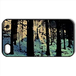 Light Beams In The Forest, Winter Watercolor style Cover iPhone 4 and 4S Case (Winter Watercolor style Cover iPhone 4 and 4S Case)