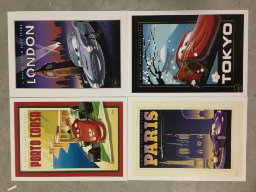 Disney Pixar Exclusive Limited Edition CARS 2 LITHOGRAPH SET of 4 - London Paris Tokyo Porto Corsa