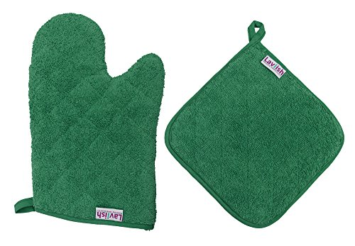 Lavlish Oven Mitt & Pot Holder Set 100% Cotton, Green ()