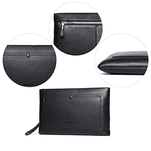 Zip For Clutch Large Real Holder Handbag Card Purse Leather Black Black Wristlet Credit Bags f Business Checkbook Men Ipad HSxC4p