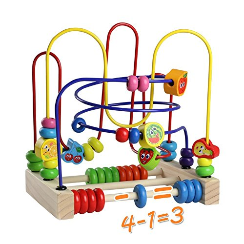 Wooden Fruits Bead Maze Roller Coaster Educational Abacus Beads Circle Toys Gift Colorful Activity Game for Children Toddlers Kids Boys Girls by Fajiabao (Image #4)