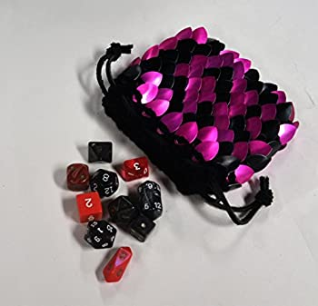"Dragonhide Dice Bag Size Medium Knitted Scale Armor Pink and Black- 4.5""x4.5"""