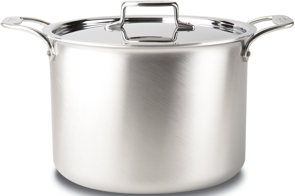 All-Clad BD55512 D5 Brushed 18/10 Stainless Steel 5-Ply Bonded Dishwasher Safe Stock Pot with Lid Cookware, 12-Quart, Silver by All-Clad (Image #1)