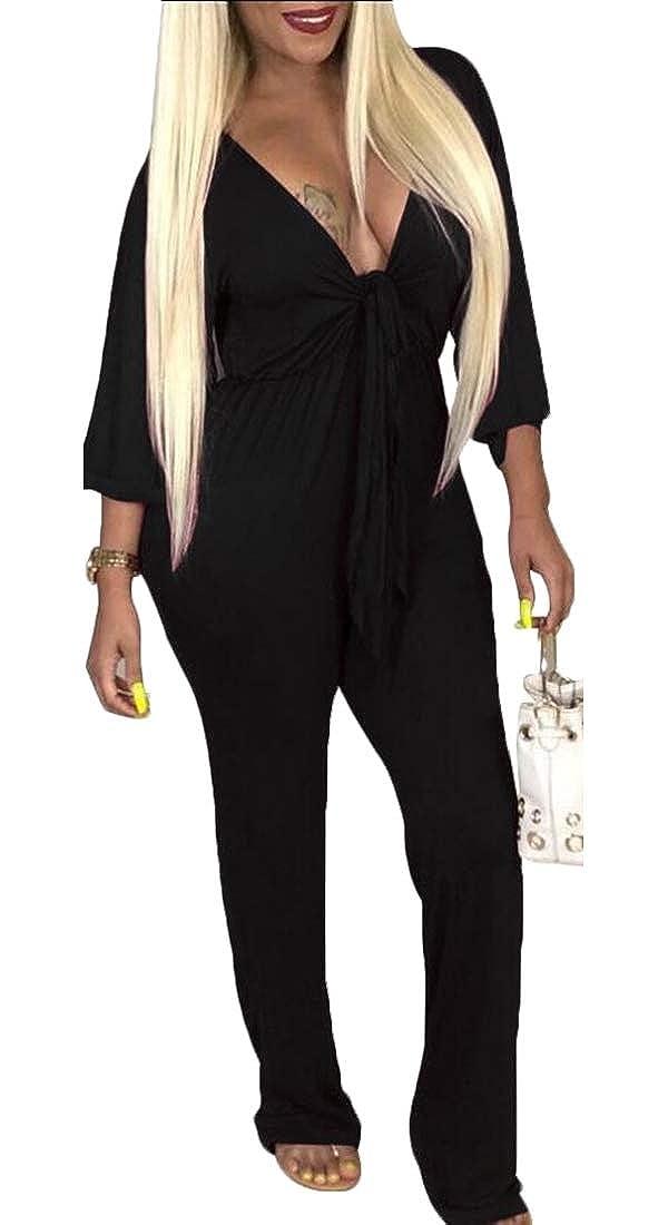 Gocgt Womens Long Sleeve Tie Front Deep V Neck Long Pants Jumpsuit Rompers