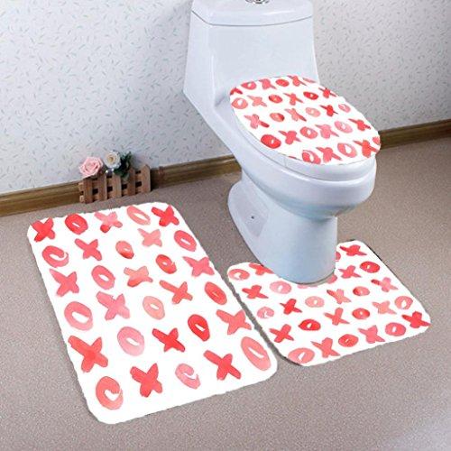 Floor Standing Bidet Set (Mikey Store 3PCS Valentine's Day Pattern Non Slip Toilet Seat Cover Rug Bathroom Set Decor (B))
