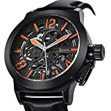 Gute Mechanical Men Automatic Watch, Motion Style Tone Self Winding Genuine Black Leather Band Watch