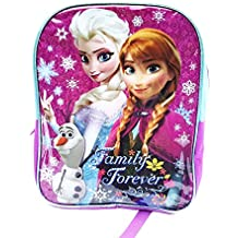 """Disney Frozen 16"""" Sparkle Backpack with Elsa, Anna, Olaf in Pink/Purple/Turquoise"""