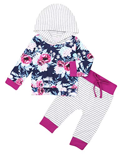 Newborn Baby Girl Clothes Long Sleeve Hoodie Floral Sweatshirt Striped Pants Outfit Sets