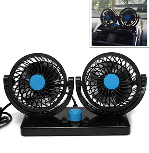 ETONG Car Electric Fan Vehicle Fan Car Auto Cooling Air Fan 2-Speed Rotatable 12V Ventilation Dashboard Electric Car Fans Summer Cooling Air Circulator