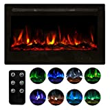 Homedex 36' Recessed Mounted Electric Fireplace Insert with Touch Screen Control Panel, Remote Control, 750/1500W, Black