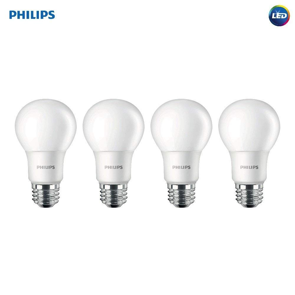 Philips 542976 LED Non-Dimmable A19 Light Bulb: 1500-Lumen, 5000-Kelvin, 15 (100 Watt Equivalent), E26 Base, Daylight, 4-Pack, White, 4 Piece