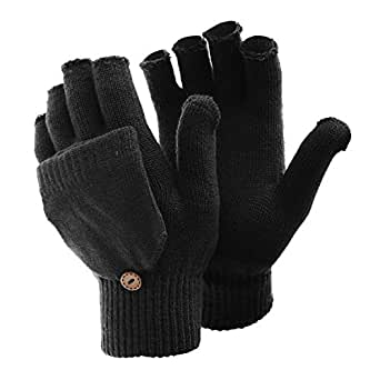 FLOSO Ladies/Womens Winter Capped Fingerless Magic Gloves (UK Size: One Size) (Black)