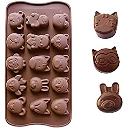 Witkey15 Cavity Cat Fox with Bear Shape Ice Cube Tray Fondant Silicone Mold Sugar Mold Candy Molds Chocolate Cake Molds Soap Decorating Molds