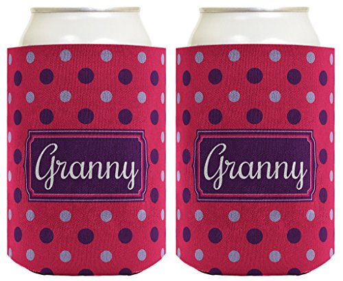 Mother's Day Gift for Granny Cute Polka Dot 2 Pack Can Coolie Drink Coolers Coolies Polka Dot