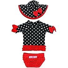 RuffleButts Infant / Toddler Girls Vintage Polka Ruffled Rash Guard & Hat Set