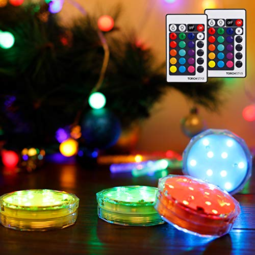 TORCHSTAR Submersible LED Lights, Waterproof Remote Controlled Battery Operated Wireless Multi-Color Underwater Lights, for Pond Pool Fountain, Bathtub, Event Party and Home Decoration, Pack of 4