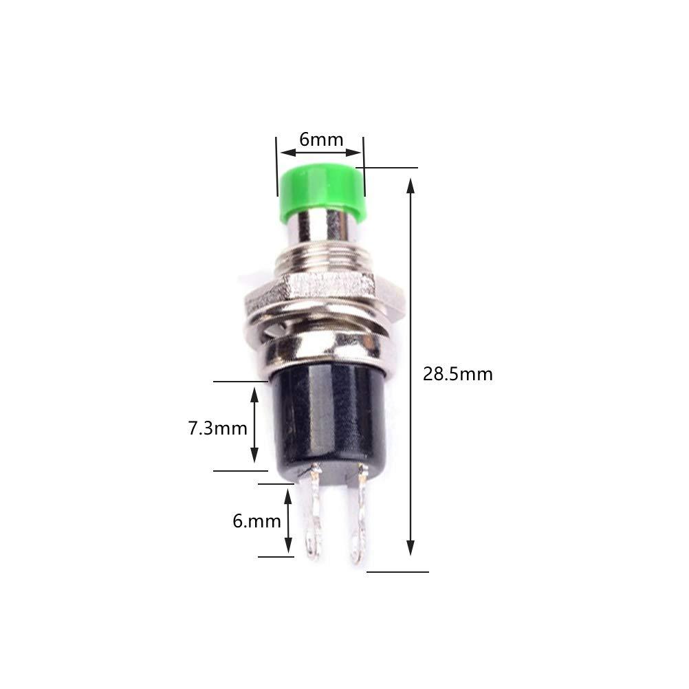Ein//Aus Rund Drucktaster 12mm ON//OFF Momentan//Latching PushButton Switch 6 Farbe