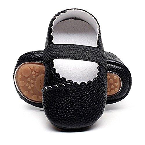 HONGTEYA Girls Dance Ballet Mary Jane Flats Shoes Print Rubber Sole Bottom Baby Moccasins Sandals (0-6M/4.33inch, Black)
