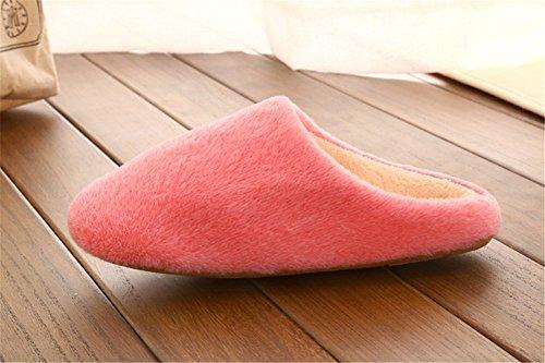 Remeehi - Zapatillas de estar por casa de Terciopelo para mujer Red