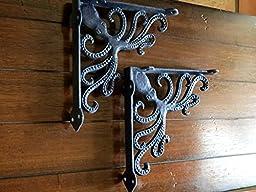 Shelf Brackets / Nautical Design / Navy Blue or Pick Your Color / Cast Iron Brackets / Shabby Chic / Octopus Design / Sea Theme Decor