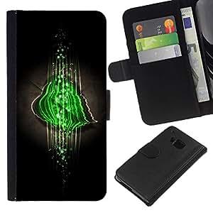 // PHONE CASE GIFT // Moda Estuche Funda de Cuero Billetera Tarjeta de crédito dinero bolsa Cubierta de proteccion Caso HTC One M9 / Green Abstract /