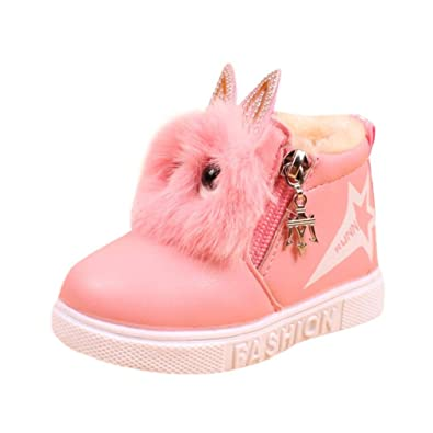 Cute Rabbit Baby Girsl Leather Boots Fur Winter Warm Princess First Walkers Moccasins/Shoes