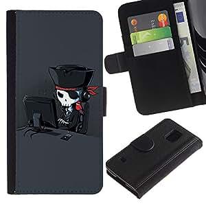 LASTONE PHONE CASE / Lujo Billetera de Cuero Caso del tirón Titular de la tarjeta Flip Carcasa Funda para Samsung Galaxy S5 V SM-G900 / Funny Cool Internet Pirate