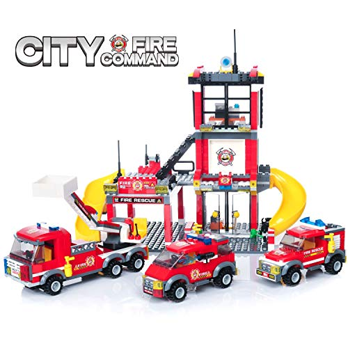 WishaLife 788 Pieces City Police, City Fire Station Building Kit, Toy Fire Truck Firefighter Toys for Kids with Storage Box for Boys and -