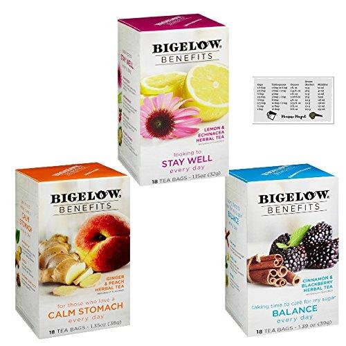 Bigelow Benefits Cinnamon and Blackberry, Ginger and Peach & Lemon and Echinacea Herbal Tea Bundle (Pack of 3) + Bonus Kitchen Measure Magnet
