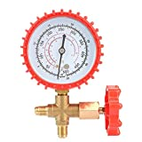 Manifold Gauge, 500 psi 35kgf/cm² Air Condition Refrigeration Manifold Gauge (Red) Manometer & Valve for R12 R502 R22 R410 R134A