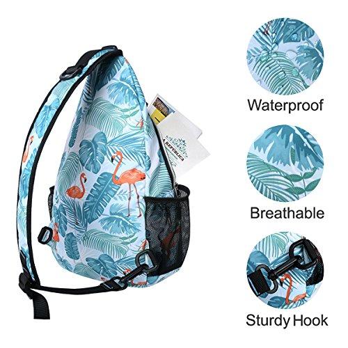 MOSISO Sling Backpack, Polyester Crossbody Shoulder Bag for Men Women Girls Boys, Flamingo by MOSISO (Image #3)