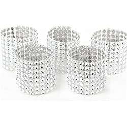 WeddingBobDIY Set of 50Pcs Rhinestone Bling Napkin Rings Diamond Silvers Wedding Decoration (Sliver)