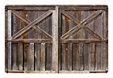 Ambesonne Rustic Pet Mat for Food and Water, Old Wooden Barn Door of Farmhouse Oak Countryside Village Board Rural Life Photo Print, Rectangle Non-Slip Rubber Mat for Dogs and Cats, Brown For Sale