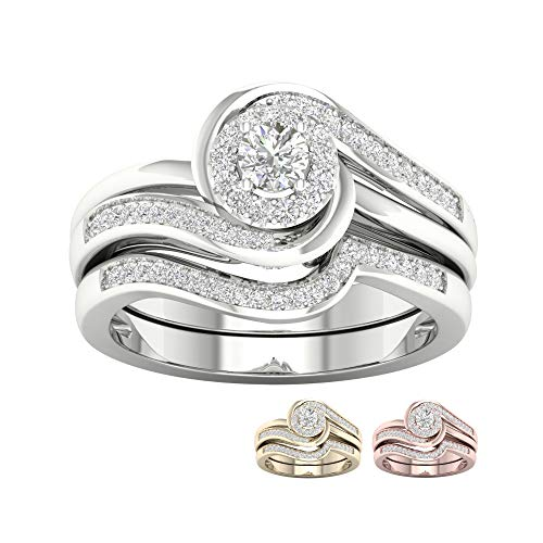 IGI Certified 10k Yellow Gold 1/3Ct TDW Round Diamond Bypass Bridal Set (I-J,I2)