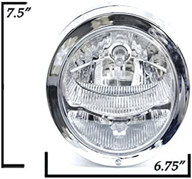 Krator Custom Chrome Concept Headlight Head Light for any Harley Suzuki Choppers Kawasaki Cruiser Honda Yamaha Custom Bike