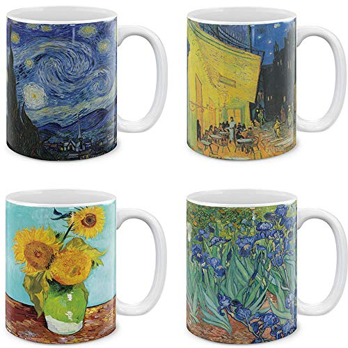 MUGBREW Coffee Mugs 4 Piece Set Vincent Van Gogh Paintings The Starry Night, Sunflowers, Irises, Cafe Terrace at Night, 11 Oz Gift Mugs